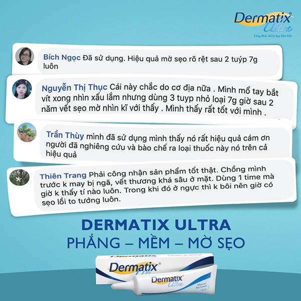 Review kem trị sẹo dermatix Ultra tại facebook